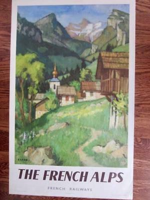 Original 1956 Travel Poster THE FRENCH ALPS French Railways By Capon