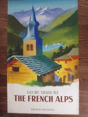 Original Vintage 1954 GO BY TRAIN THE FRENCH ALPS Poster By Jacques Nathan