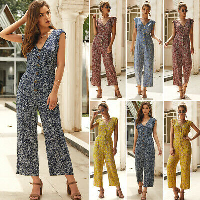 Women Summer Boho Floral Jumpsuit Bodysuit Playsuit Party Long Trousers Pants