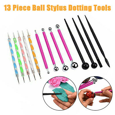 UK 13Pcs Ball Stylus Dotting Tool for Rock Painting Clay Pottery Modeling Design