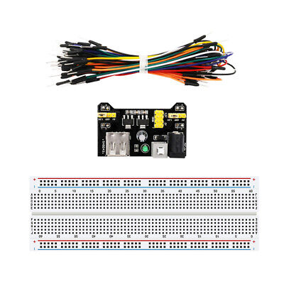 830 Point Solderless Breadboard 65Pcs Jumper Cable MB-102 Power Supply Module m