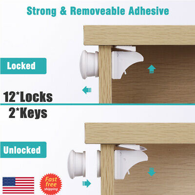 Magnetic Cabinet Locks Baby Child Kids Safety Proof Cupboard Drawer-No Drilling