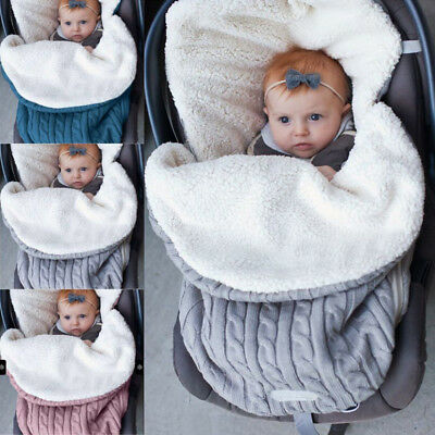 Winter Warm Infant Stroller Wrap Thick Sleeping Bags Knit Baby Swaddle Blanket