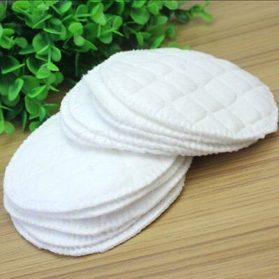 12pcs Bamboo Reusable Breast Pads Nursing Waterproof Organic Plain Washable bt