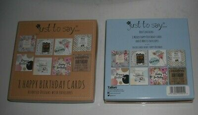 Pack Of 8 Mixed/Assorted Ladies And Men's Birthday Cards With Envelopes