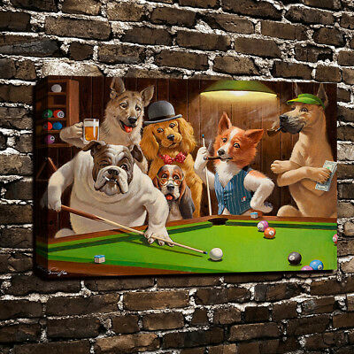 12x18 Dog on Pool Table Oil Painting Art Print Canvas Wall Home Decor Picture