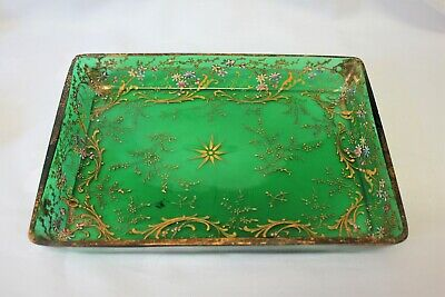 Bohemian enamel decorated green glass tray ,Moser? some damage