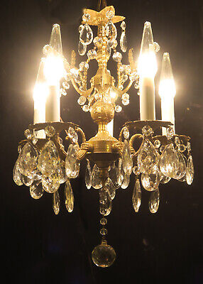 5lite Vintage Gilt Bronze Brass FRENCH Spain Rococo small chandelier florettes