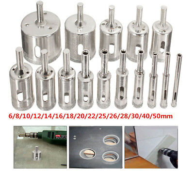 15Pc 6-50mm Diamond Hole Saw Drill Bit Glass Ceramic Tile Marble Cutting Tool