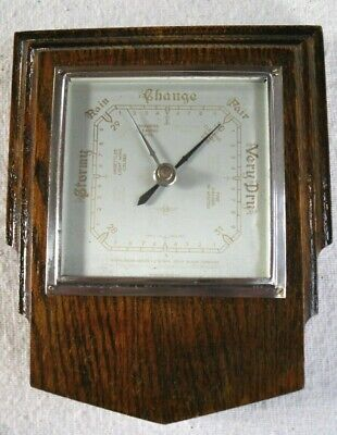 Vintage 1930s Art Deco Smiths Wooden Wall Aneroid Barometer,Working Condition.