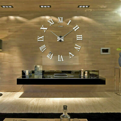 DIY 3D Large Number Mirror Wall Clock Sticker for Home Office  Kids ROOM Decor