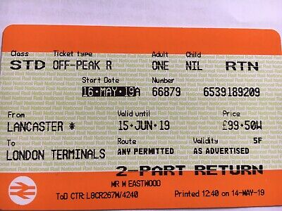 Lancaster to London. Standard class Off Peak single ticket. to 15th June