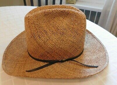 36c25c1a04374 Resistol Western hat Size 6 7 8 self conforming Texas long oval straw  cowboy hat