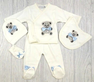 Baby Boys Romany Spanish Style Diamante & Blue Bows 5 Piece Outfit 3-6-9 months