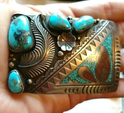 Vintage Native American signed rb sterling silver & Turquoise coral belt buckle