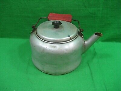 Vintage Antique Primitive Metal Aluminum Hot Water Kettle with Red Wood Handle