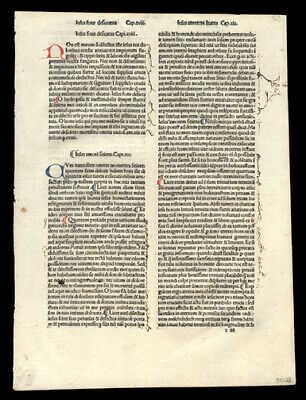 The Passion of Christ 1485 Rare  Incunable Leaf  Lot (2)  Hand-Colored Letters