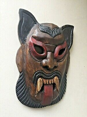 2Hand Carved African Mask Wooden Tribal Vintage Wall Art Painted Face Wood Tribe