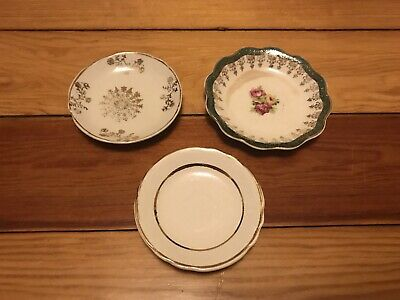 3 Gold Trimmed Vintage China Plates Butter Pats