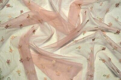 """Embroidered Organza Sheer Dress Apparel Veil Fabric Rose Pink Floral Scallop 53"""""""