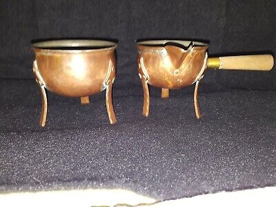 Arts And Crafts Hammered Copper Cream And Sugar-Vintage