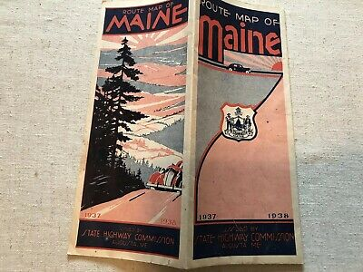 Route & Pictorial Map Of Maine 1937-38 Augusta Main State Highway Commission