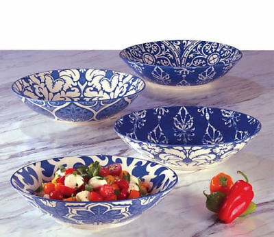 "NEW1 Certified International 9"" Blue Porcelain Soup or Serving Bowls Set of 4"