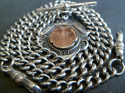 109YO Graduated Solid Silver Double Albert Pocket Watch Chain + 9ct Gold Frt Fob