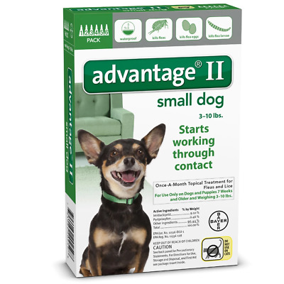 Bayer Advantage II Small Dogs 3-10 Lbs 4 Pack Topical Flea & Lice Treatment