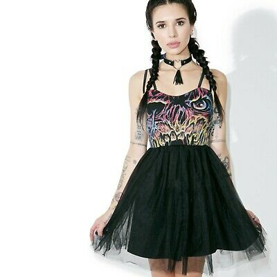 IRON FIST Carl Party Dress Tulle Zombie Skull Horror Punk RARE NWT Ladies Womens