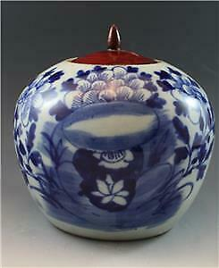 19C Chinese Export Blue & White Canton Porcelain Ginger Jar Floral Motif