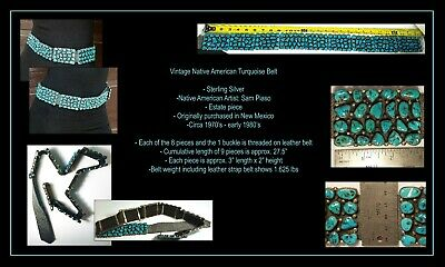 VINTAGE NATIVE AMERICAN TURQUOISE NUGGET/STERLING SILVER CONCH BELT - Sam Piaso