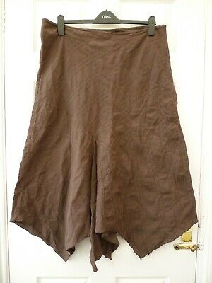 EAST COAST Ladies Size 18 Brown Boho Wicca Asymmetric Pointy Hem Maxi Skirt