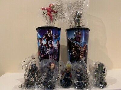 Marvel Avengers Endgame Set Of 2 44 oz. Promo Cups & 7 Character Toppers-new