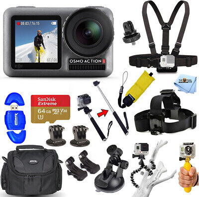 DJI Osmo Action 4K Camera 64GB Sandisk Extreme Accessory Bundle With Case + More