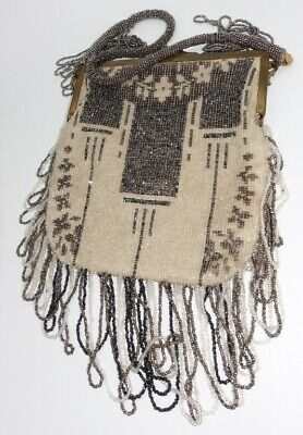 Edwardian antique Art Deco Flapper french steel cut & glass Beaded Handbag Purse