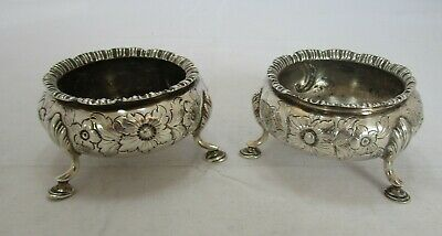 Pair Antique Victorian Sterling silver cauldron salts, 1855, 140 grams, Geo Rich