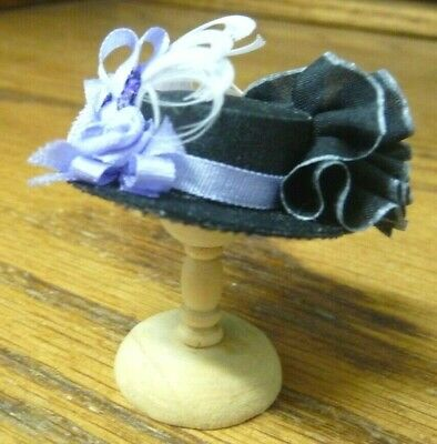 1/12th scale Dollhouse Miniature Nancy Manders Decorated Black & Purple Hat