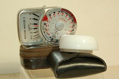 WESTON MASTER-V LIGHT METER with INVERCONE+CASE/WRIST-STRAP VERY NICE CONDITION