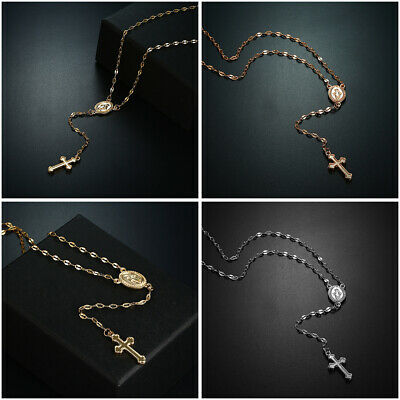 Stainless Steel Beaded Rosary Virgin Mary With Jesus Cross Necklace Jewelry Gift