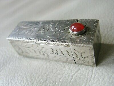 Antique Italian 800 Hand Engraved Silver Red Glass Jewel Lipstick Case ITALY #5