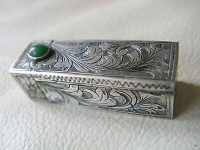 Antique Italian 800 Hand Engraved Silver Malachite Jewel Lipstick Case ITALY #6