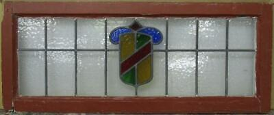 "OLD ENGLISH LEADED STAINED GLASS WINDOW TRANSOM Pretty Colorful Shield 34"" x 14"""
