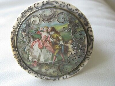 Antique French Lovers Couple Scene Blue Celluloid Puff Sifter Compact FRANCE