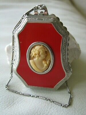 Antique Art Deco Silver T Red Enamel Bar Chain Celluloid Cameo 2 Puff Compact