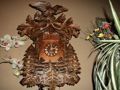 Beautiful German Black Forest 3-D Carved 8 Day Musical Cuckoo Clock With Dancers