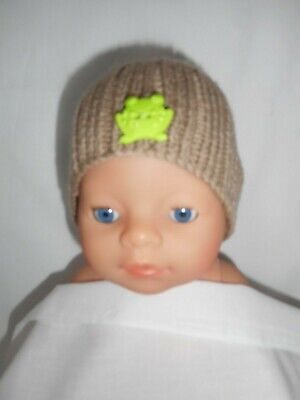 Hand knitted dolls clothes (Brown beanie) fit 40-43cm 17inch Baby Born doll