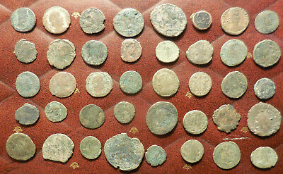 Lot of 40 Ancient Late Roman Coins, Largest 25.5 mm and all have Details!
