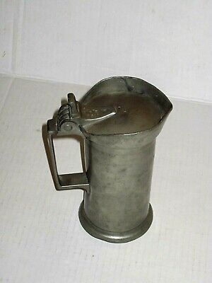 RARE Mid-1800's Antique Pewter Liter TANKARD French Leclerc Smagghe lidded