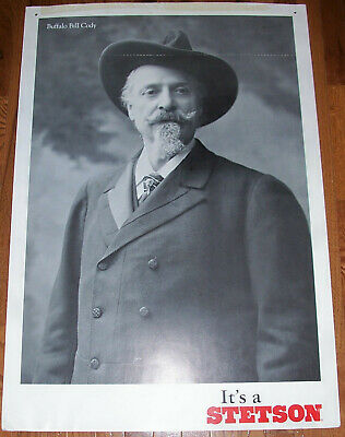 Buffalo Bill It's a Stetson Hat Store Advertising Poster Sign Old Western Print